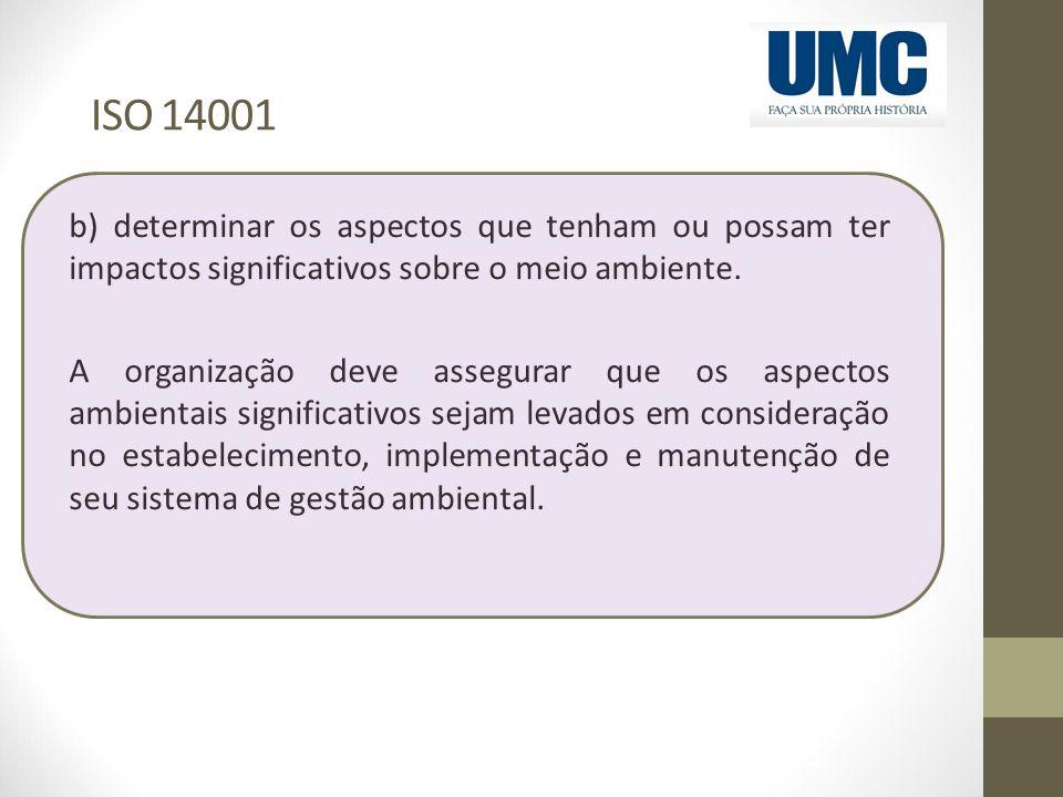 ISO 14001 b) determinar os aspectos que tenham ou possam ter impactos significativos sobre o meio ambiente. A organização deve assegurar que os aspect