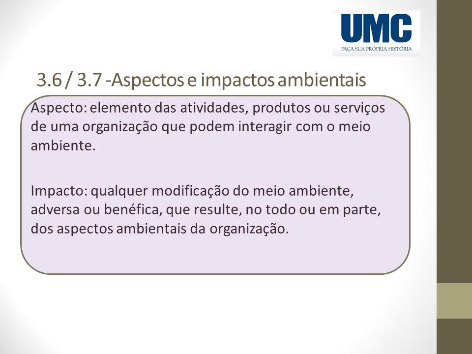 3.6 / 3.7 -Aspectos e impactos ambientais Aspecto: elemento das atividades, produtos ou serviços de uma organização que podem interagir com o meio amb