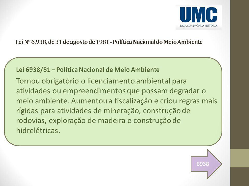 Lei Nº 6.938, de 31 de agosto de 1981 - Política Nacional do Meio Ambiente Lei 6938/81 – Política Nacional de Meio Ambiente Tornou obrigatório o licen