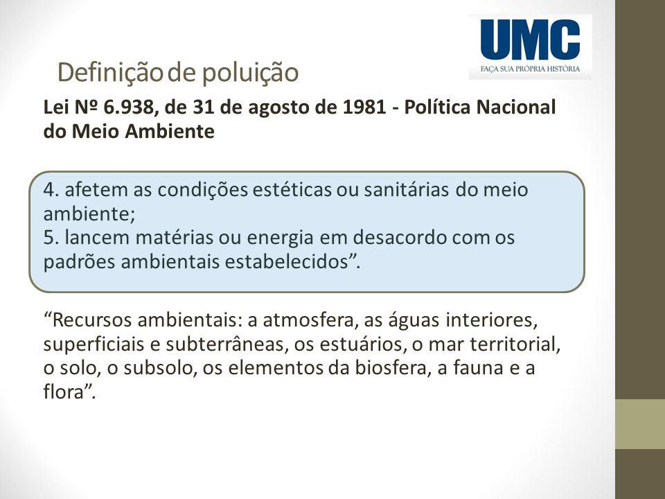 Definição de poluição Lei Nº 6.938, de 31 de agosto de 1981 - Política Nacional do Meio Ambiente 4. afetem as condições estéticas ou sanitárias do mei
