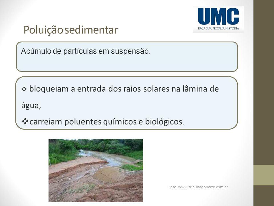 Poluição sedimentar Foto: www.tribunadonorte.com.br Acúmulo de partículas em suspensão.  bloqueiam a entrada dos raios solares na lâmina de água,  c
