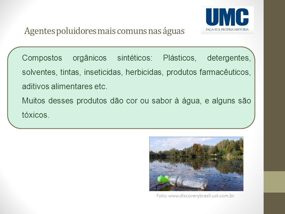 Agentes poluidores mais comuns nas águas Foto: www.discoverybrasil.uol.com.br Compostos orgânicos sintéticos: Plásticos, detergentes, solventes, tinta
