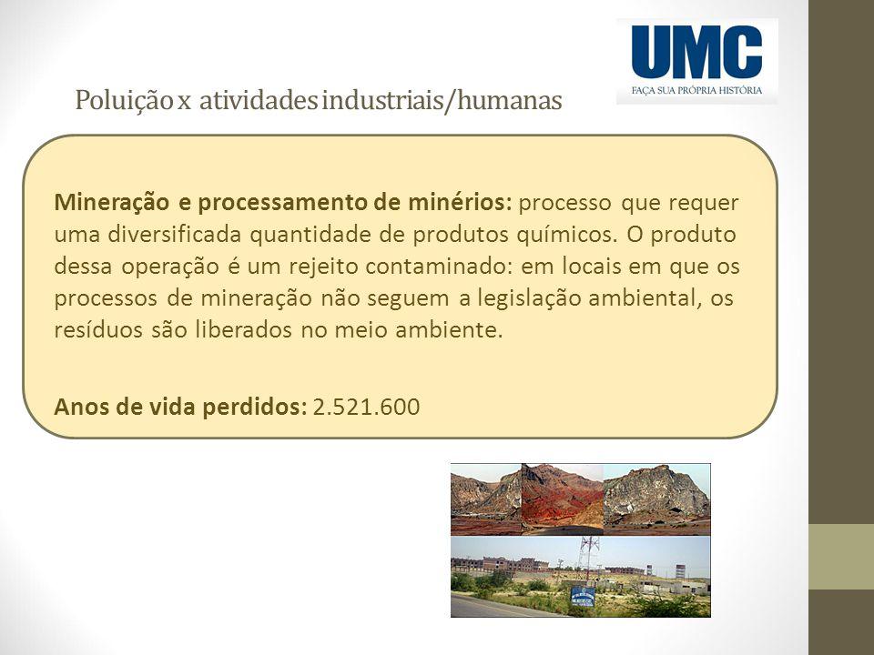 Poluição x atividades industriais/humanas Mineração e processamento de minérios: processo que requer uma diversificada quantidade de produtos químicos