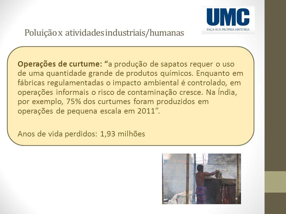 """Poluição x atividades industriais/humanas Operações de curtume: """"a produção de sapatos requer o uso de uma quantidade grande de produtos químicos. Enq"""