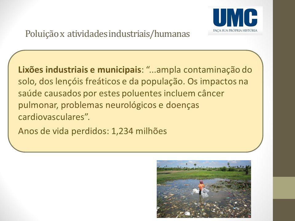 """Poluição x atividades industriais/humanas Lixões industriais e municipais: """"...ampla contaminação do solo, dos lençóis freáticos e da população. Os im"""