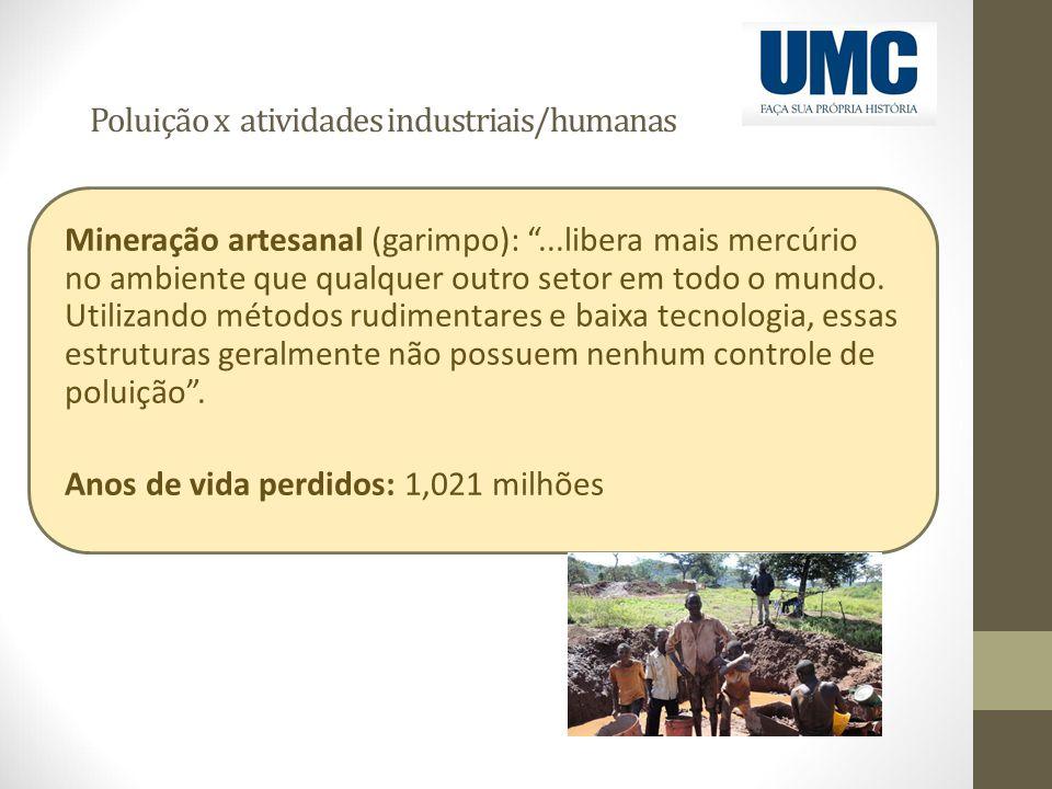 """Poluição x atividades industriais/humanas Mineração artesanal (garimpo): """"...libera mais mercúrio no ambiente que qualquer outro setor em todo o mundo"""