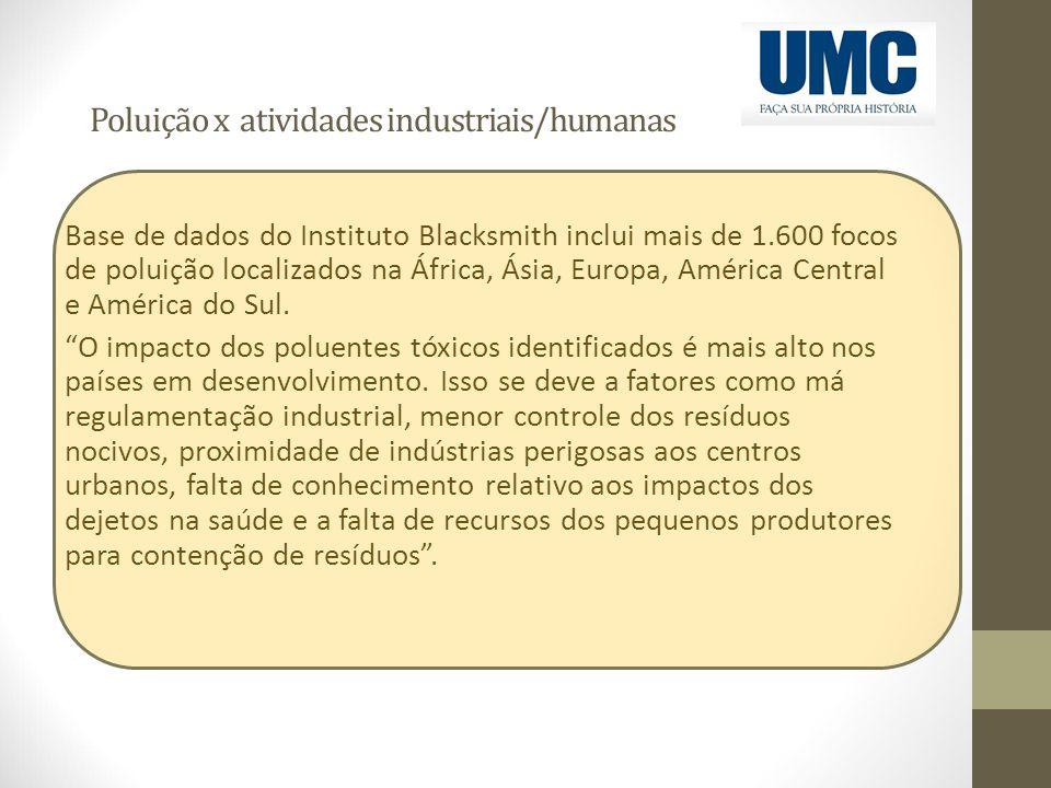 Poluição x atividades industriais/humanas Base de dados do Instituto Blacksmith inclui mais de 1.600 focos de poluição localizados na África, Ásia, Eu