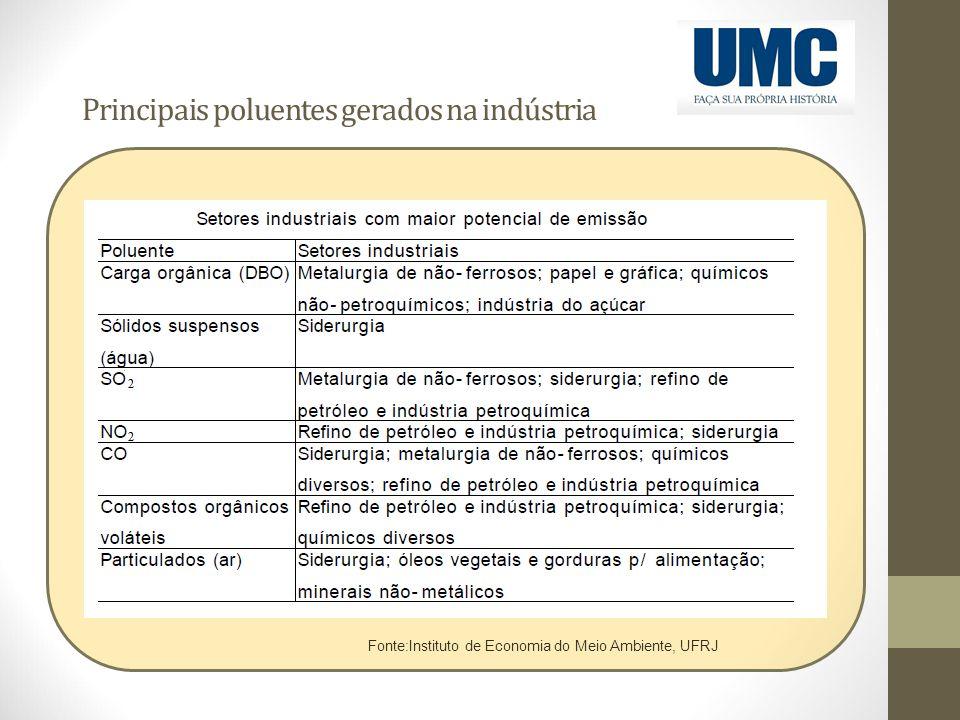 Principais poluentes gerados na indústria Fonte:Instituto de Economia do Meio Ambiente, UFRJ