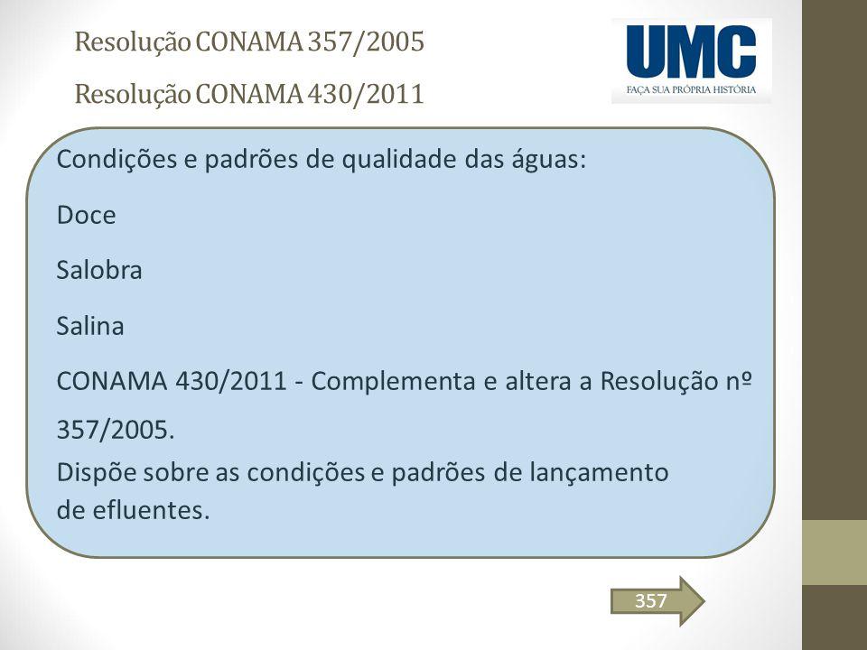 Resolução CONAMA 357/2005 Resolução CONAMA 430/2011 Condições e padrões de qualidade das águas: Doce Salobra Salina CONAMA 430/2011 - Complementa e al