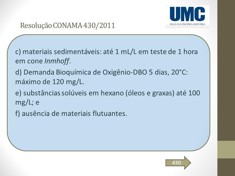 Resolução CONAMA 430/2011 c) materiais sedimentáveis: até 1 mL/L em teste de 1 hora em cone Inmhoff. d) Demanda Bioquímica de Oxigênio-DBO 5 dias, 20°