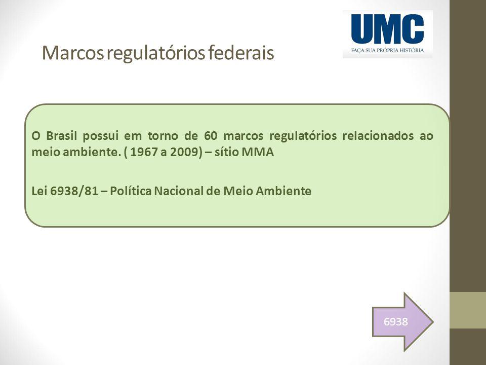 Marcos regulatórios federais O Brasil possui em torno de 60 marcos regulatórios relacionados ao meio ambiente. ( 1967 a 2009) – sítio MMA Lei 6938/81