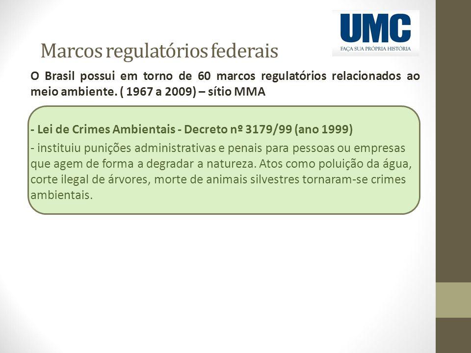 Marcos regulatórios federais O Brasil possui em torno de 60 marcos regulatórios relacionados ao meio ambiente. ( 1967 a 2009) – sítio MMA - Lei de Cri