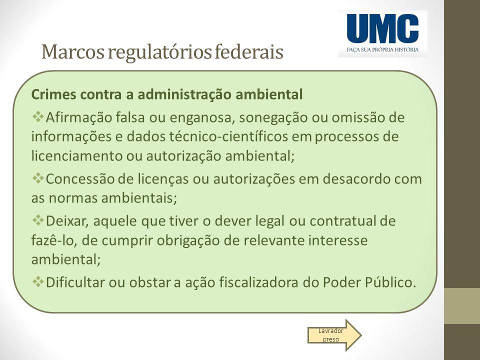 Marcos regulatórios federais Crimes contra a administração ambiental  Afirmação falsa ou enganosa, sonegação ou omissão de informações e dados técnic