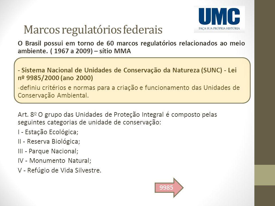 Marcos regulatórios federais O Brasil possui em torno de 60 marcos regulatórios relacionados ao meio ambiente. ( 1967 a 2009) – sítio MMA - Sistema Na