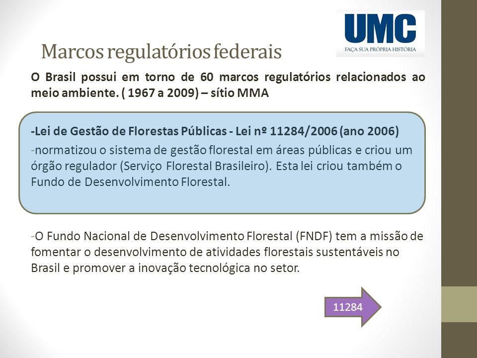 Marcos regulatórios federais O Brasil possui em torno de 60 marcos regulatórios relacionados ao meio ambiente. ( 1967 a 2009) – sítio MMA -Lei de Gest