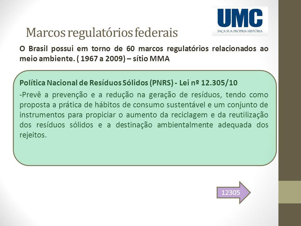 Marcos regulatórios federais O Brasil possui em torno de 60 marcos regulatórios relacionados ao meio ambiente. ( 1967 a 2009) – sítio MMA Política Nac