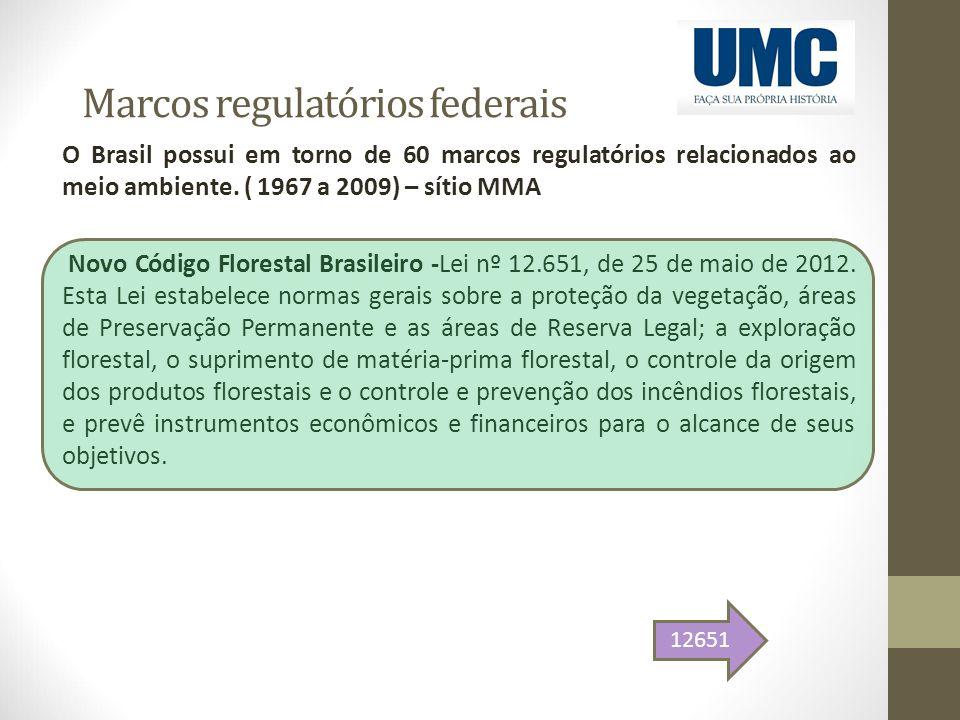 Marcos regulatórios federais O Brasil possui em torno de 60 marcos regulatórios relacionados ao meio ambiente. ( 1967 a 2009) – sítio MMA Novo Código