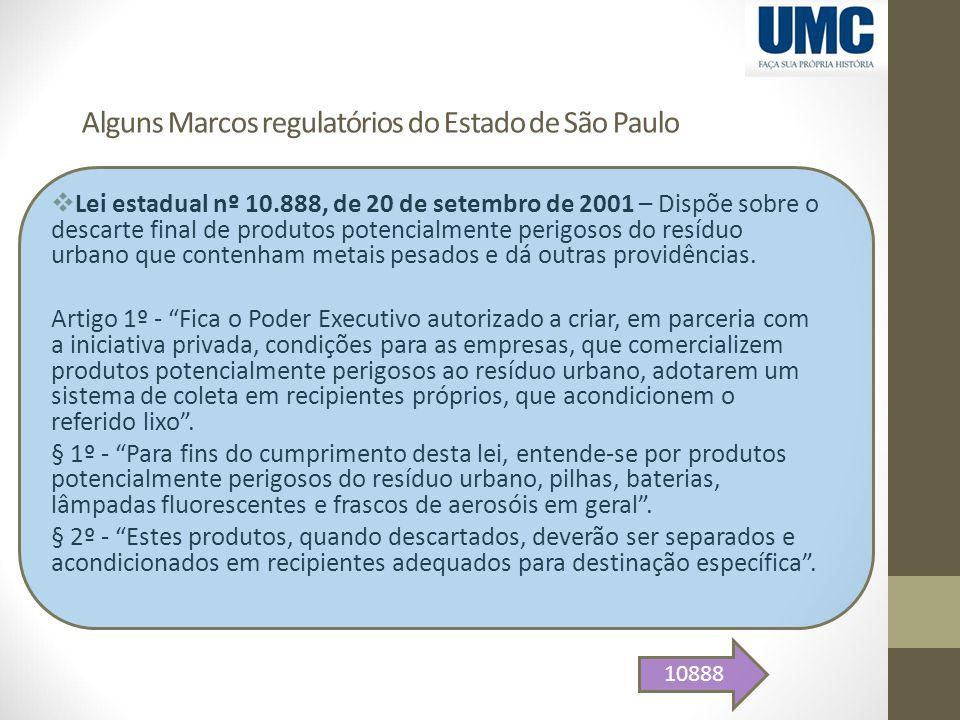 Alguns Marcos regulatórios do Estado de São Paulo  Lei estadual nº 10.888, de 20 de setembro de 2001 – Dispõe sobre o descarte final de produtos pote