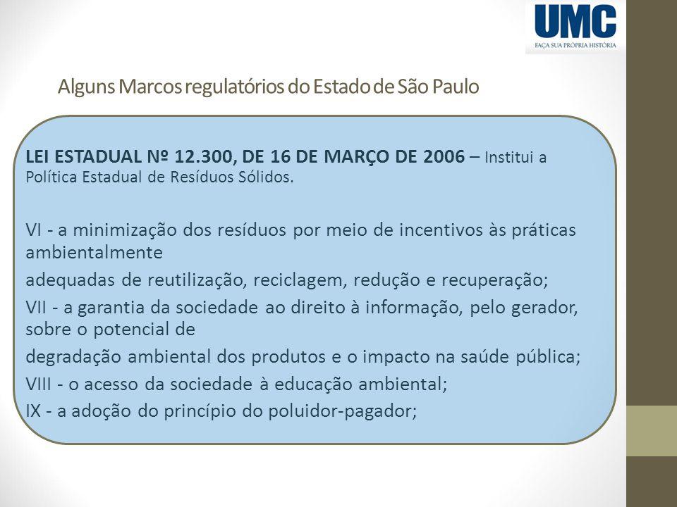 Alguns Marcos regulatórios do Estado de São Paulo LEI ESTADUAL Nº 12.300, DE 16 DE MARÇO DE 2006 – Institui a Política Estadual de Resíduos Sólidos. V