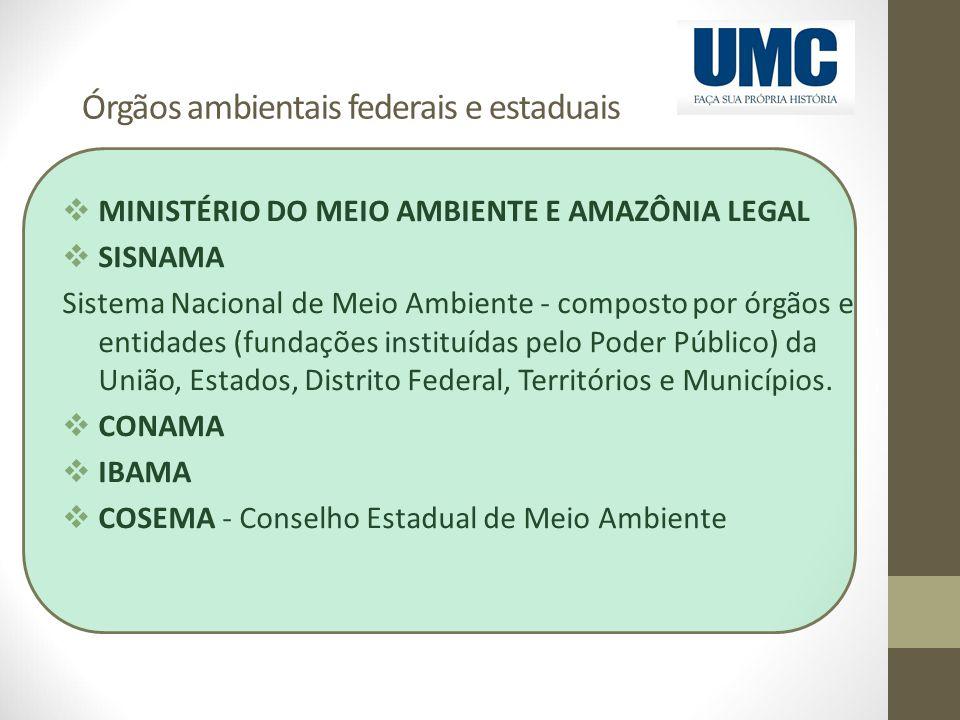 Órgãos ambientais federais e estaduais  MINISTÉRIO DO MEIO AMBIENTE E AMAZÔNIA LEGAL  SISNAMA Sistema Nacional de Meio Ambiente - composto por órgão