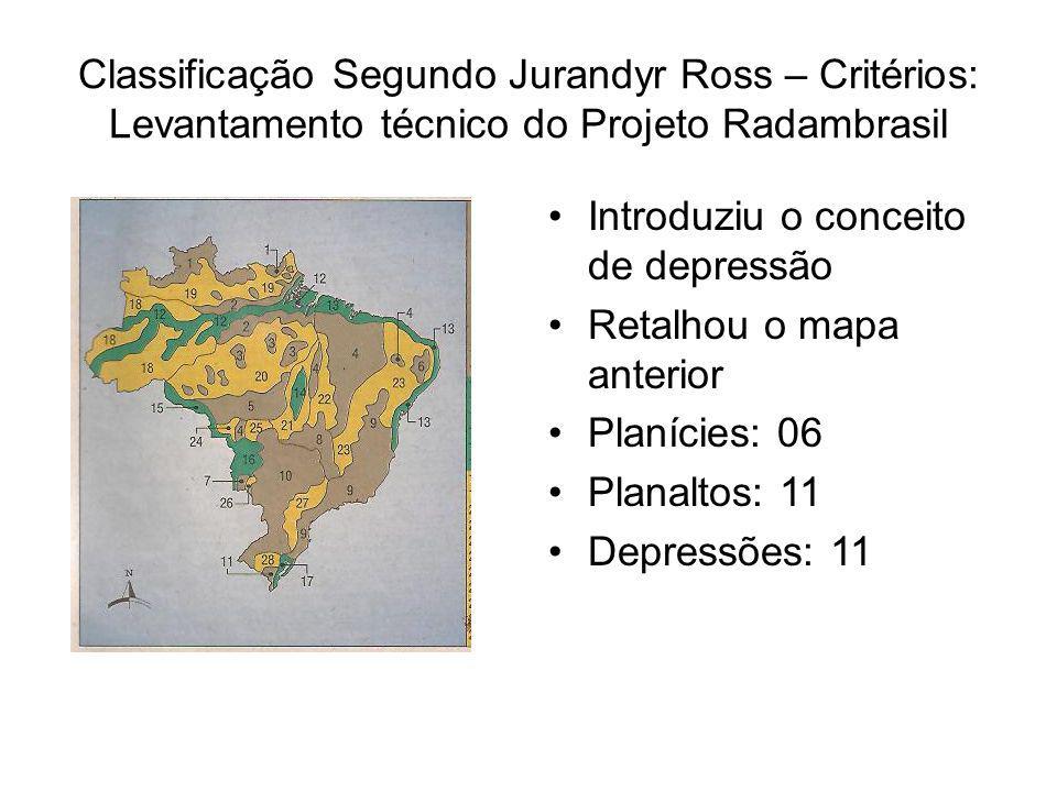 Classificação Segundo Jurandyr Ross – Critérios: Levantamento técnico do Projeto Radambrasil Introduziu o conceito de depressão Retalhou o mapa anterior Planícies: 06 Planaltos: 11 Depressões: 11