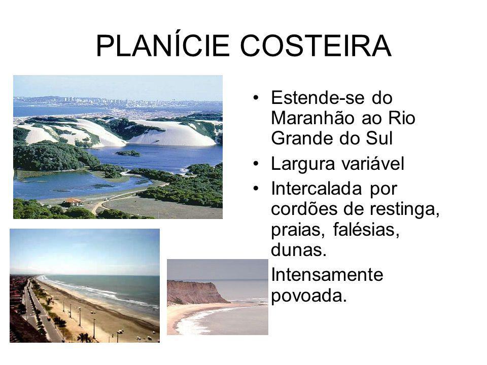 PLANÍCIE COSTEIRA Estende-se do Maranhão ao Rio Grande do Sul Largura variável Intercalada por cordões de restinga, praias, falésias, dunas.