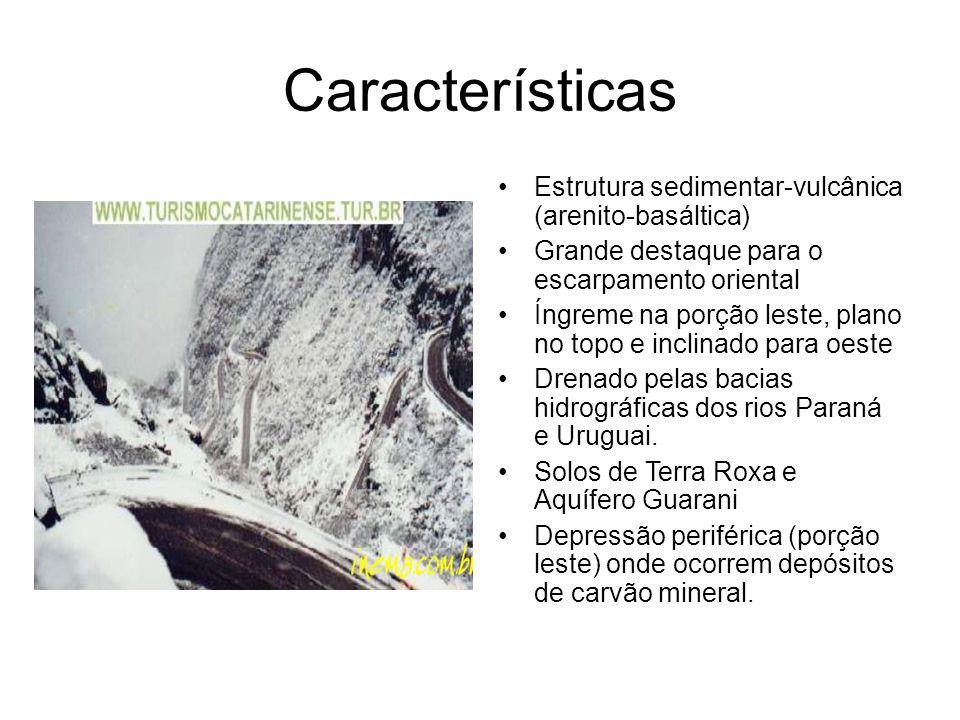 Características Estrutura sedimentar-vulcânica (arenito-basáltica) Grande destaque para o escarpamento oriental Íngreme na porção leste, plano no topo e inclinado para oeste Drenado pelas bacias hidrográficas dos rios Paraná e Uruguai.