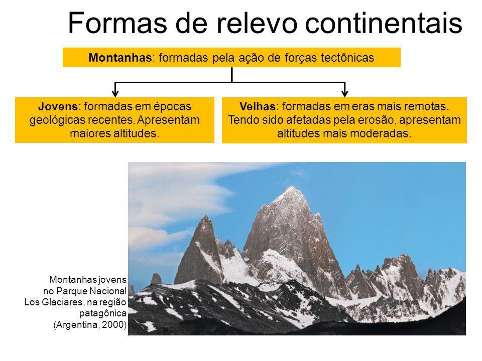 Formas de relevo continentais Montanhas: formadas pela ação de forças tectônicas Jovens: formadas em épocas geológicas recentes.