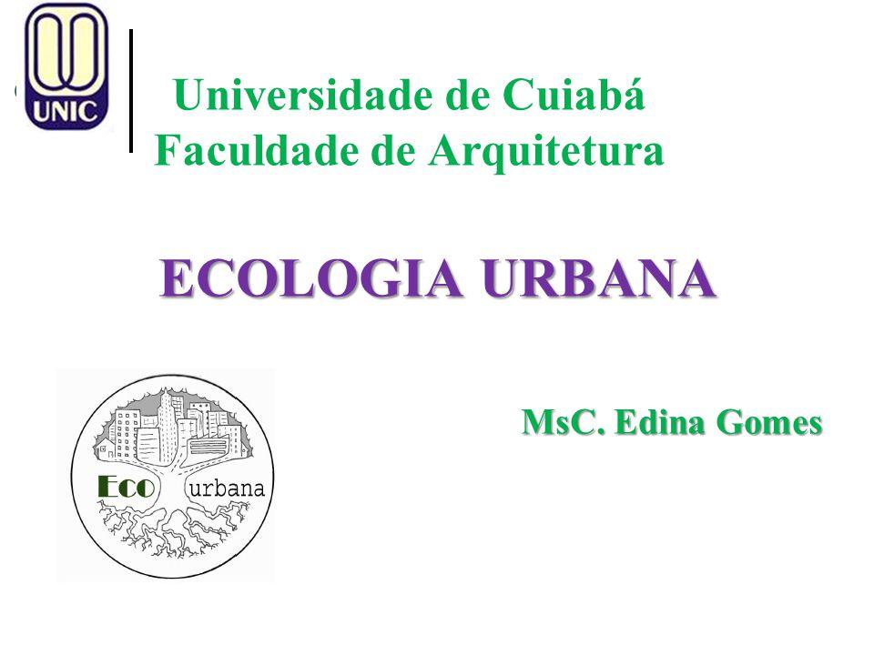 Universidade de Cuiabá Faculdade de Arquitetura ECOLOGIA URBANA MsC. Edina Gomes