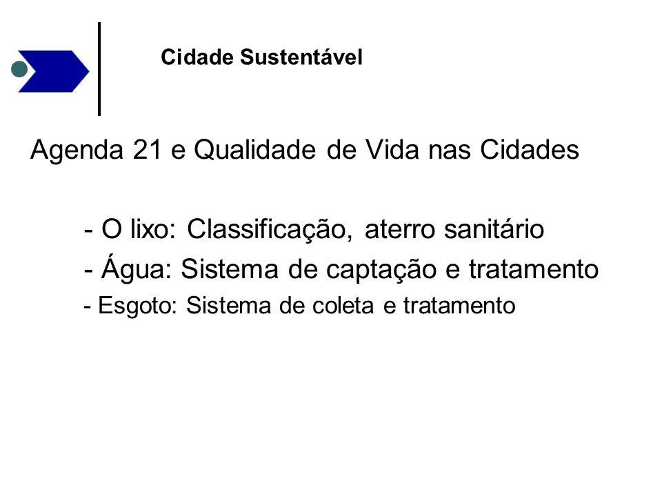Agenda 21 e Qualidade de Vida nas Cidades - O lixo: Classificação, aterro sanitário - Água: Sistema de captação e tratamento - Esgoto: Sistema de cole