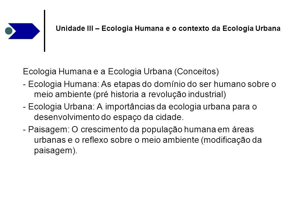 Ecologia Humana e a Ecologia Urbana (Conceitos) - Ecologia Humana: As etapas do domínio do ser humano sobre o meio ambiente (pré historia a revolução