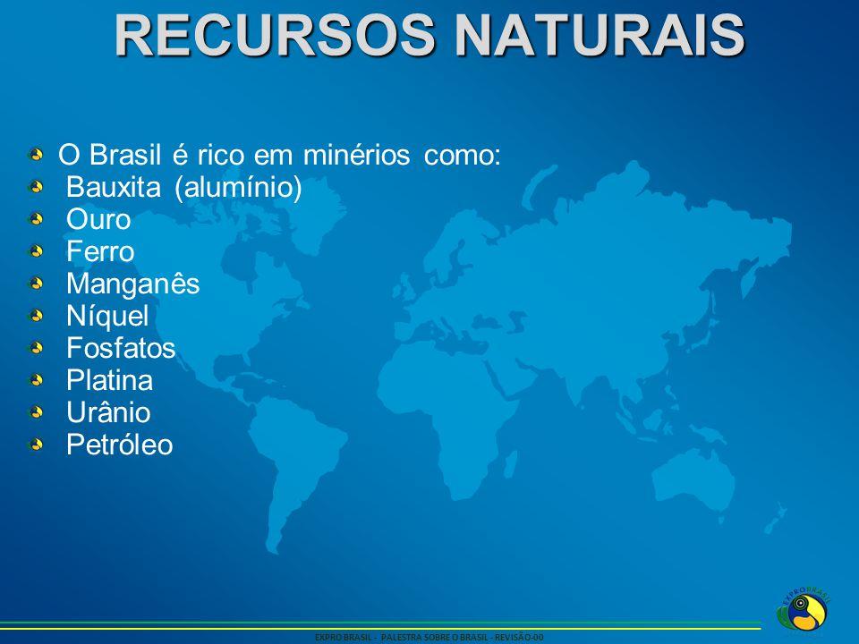 RECURSOS NATURAIS EXPRO BRASIL - PALESTRA SOBRE O BRASIL - REVISÃO-00 O Brasil é rico em minérios como: Bauxita (alumínio) Ouro Ferro Manganês Níquel