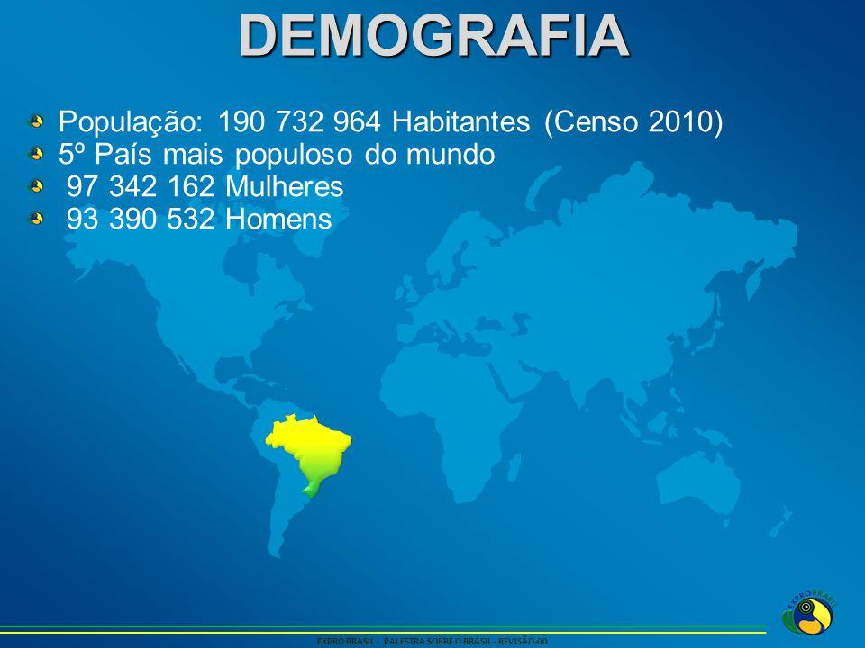 DEMOGRAFIA EXPRO BRASIL - PALESTRA SOBRE O BRASIL - REVISÃO-00 População: 190 732 964 Habitantes (Censo 2010) 5º País mais populoso do mundo 97 342 16