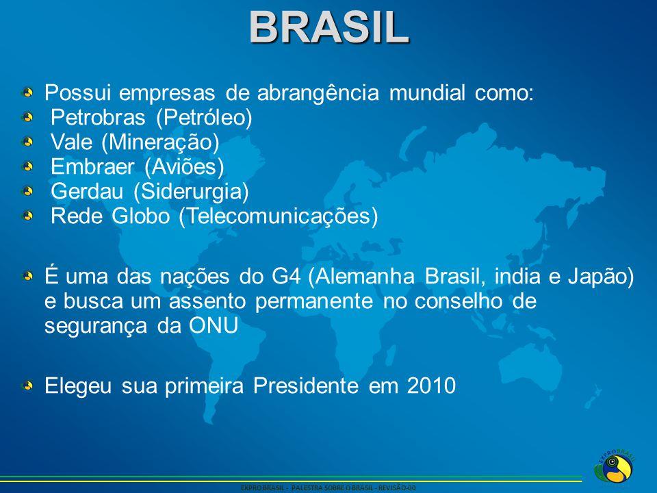 BRASIL EXPRO BRASIL - PALESTRA SOBRE O BRASIL - REVISÃO-00 Possui empresas de abrangência mundial como: Petrobras (Petróleo) Vale (Mineração) Embraer