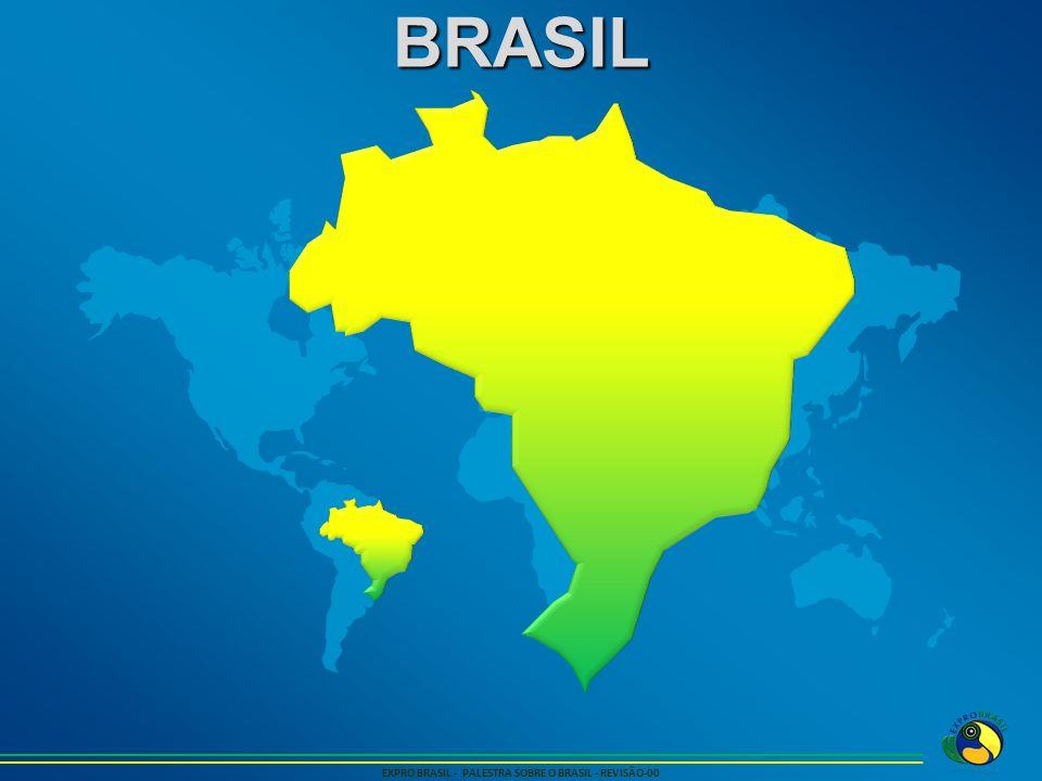 ECONOMIA EXPRO BRASIL - PALESTRA SOBRE O BRASIL - REVISÃO-00 No Mundo, O Brasil é: Maior Produtor de café 2,8 milhões de toneladas Maior produtor de suco de laranja 1,3 milhão de toneladas Maior Produtor de Etanol – 29 bilhões de Litros Maior produtor de açucar – 37 milhões de toneladas Maior rebanho de gado de corte Um dos maiores produtores de Suinos e frangos 2º maior produtor de soja - 68 milhões de toneladas 2º maior produtor de minério de ferro - 300 milhões de toneladas 4º maior entre empresas fabricantes de aviões Embraer 12º Maior produtor de petróleo – 2,2 milhões de barris por dia