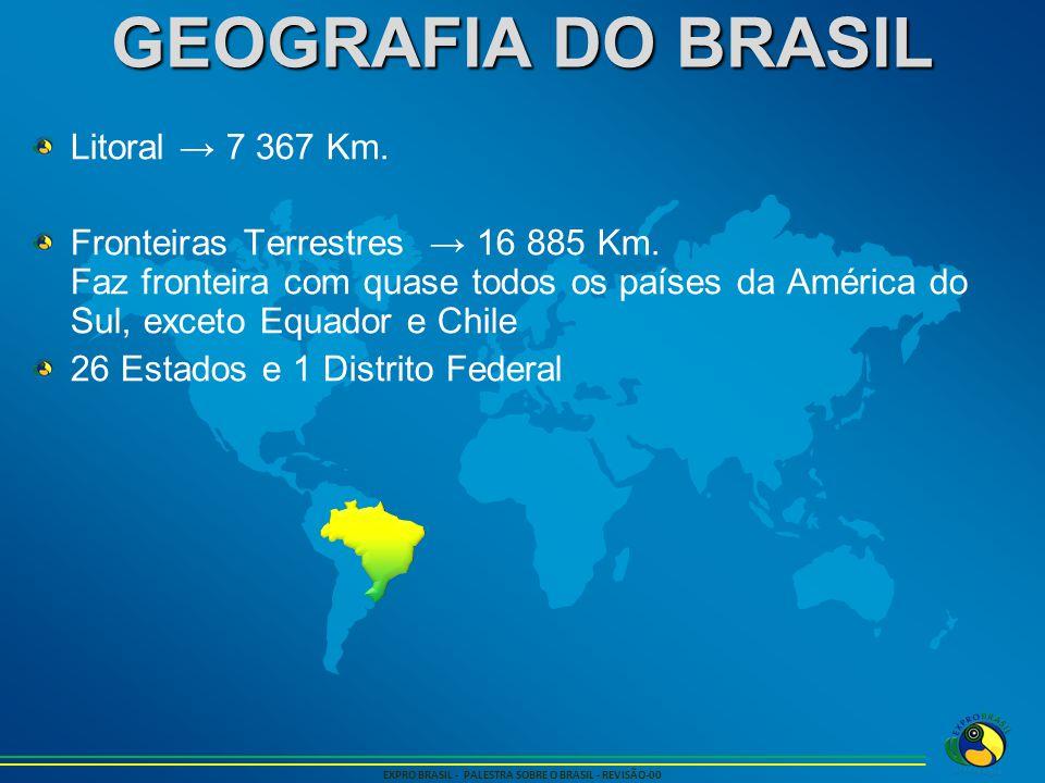 GEOGRAFIA DO BRASIL EXPRO BRASIL - PALESTRA SOBRE O BRASIL - REVISÃO-00 Litoral → 7 367 Km. Fronteiras Terrestres → 16 885 Km. Faz fronteira com quase