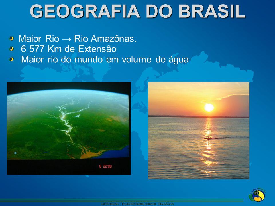 GEOGRAFIA DO BRASIL EXPRO BRASIL - PALESTRA SOBRE O BRASIL - REVISÃO-00 Maior Rio → Rio Amazônas. 6 577 Km de Extensão Maior rio do mundo em volume de