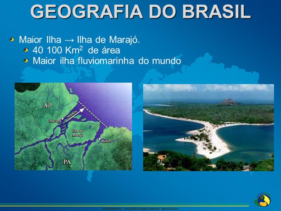 GEOGRAFIA DO BRASIL EXPRO BRASIL - PALESTRA SOBRE O BRASIL - REVISÃO-00 Maior Ilha fluvial → Ilha do Bananal.