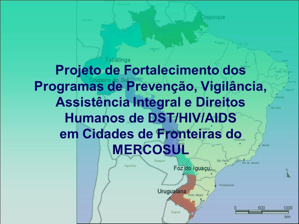 Objetivo Fortalecer a resposta ao HIV/AIDS e outras DST nas regiões de fronteiras por meio de ações e intervenções coordenadas dos Programas Nacionais de DST/HIV/AIDS dos países do MERCOSUL, a fim de diminuir a incidência das DST/HIV/AIDS, particularmente naqueles contextos de maior vulnerabilidade nas cidades fronteiriças Parcerias CICT - GTZ (possível parceria com OPAS) Principais atividades previstas Estabelecimento/fortalecimento de Comissões/Grupos de Trabalho em HIV/AIDS em regiões de fronteiras Apoio à implementação dos planos de trabalho