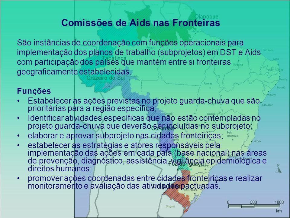 Comissões de Aids nas Fronteiras São instâncias de coordenação com funções operacionais para implementação dos planos de trabalho (subprojetos) em DST