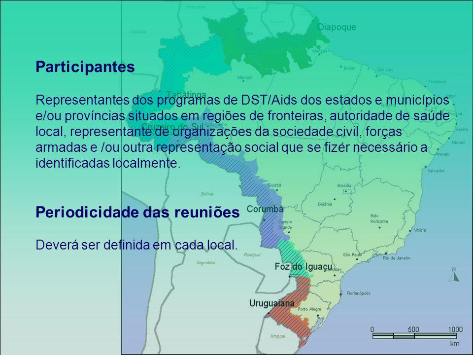 Participantes Representantes dos programas de DST/Aids dos estados e municípios e/ou províncias situados em regiões de fronteiras, autoridade de saúde