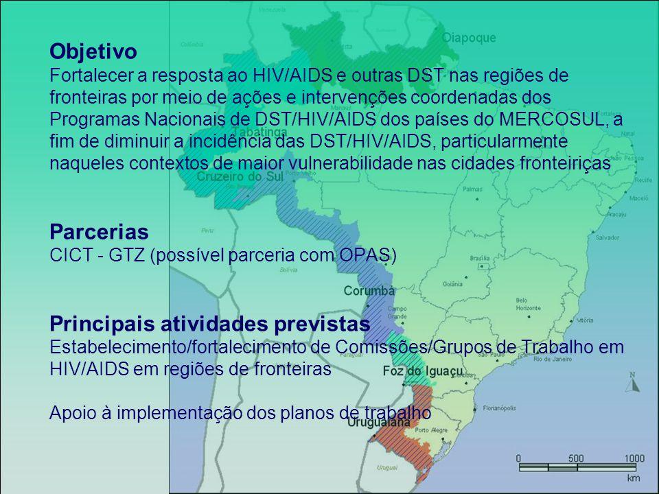 Objetivo Fortalecer a resposta ao HIV/AIDS e outras DST nas regiões de fronteiras por meio de ações e intervenções coordenadas dos Programas Nacionais