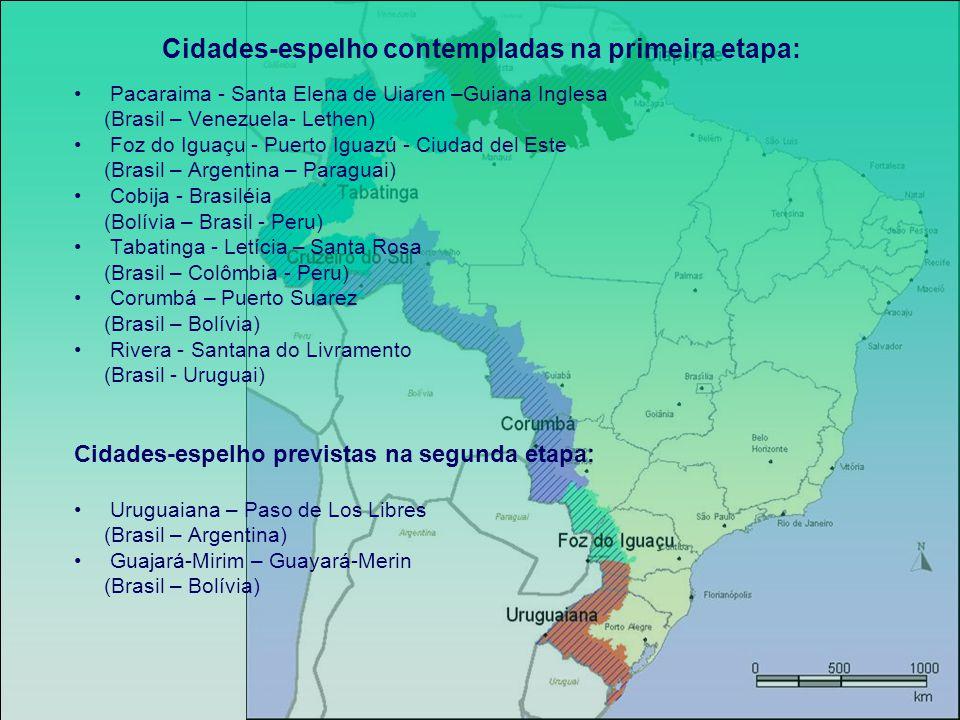 Cidades-espelho contempladas na primeira etapa: Pacaraima - Santa Elena de Uiaren –Guiana Inglesa (Brasil – Venezuela- Lethen) Foz do Iguaçu - Puerto