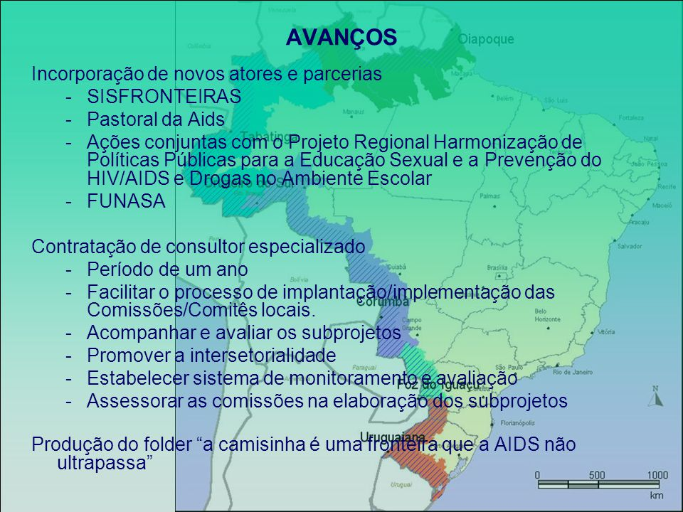 AVANÇOS (exemplos) Foz do Iguaçu -Cidade do Leste (Paraguai) -Implantação de SAE na cidade (70 pacientes em atendimento) -Aumento da disponibilização do Teste Elisa; -Aumento da disponibilização do Teste Rápido para TV; -Pacientes que eram atendidos em Foz, já estão sendo atendidos em Cidade do Leste; -Fundação da pastoral da Aids em Cidade do Leste; -Fortalecimento da SC, com participação permanente de três OSC locais.