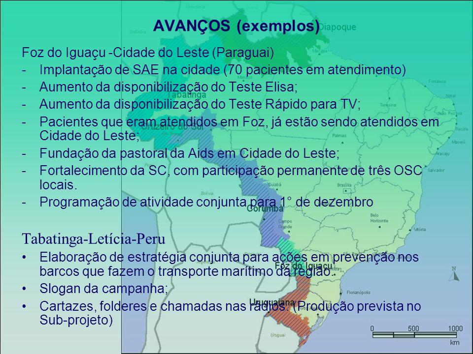 AVANÇOS (exemplos) Foz do Iguaçu -Cidade do Leste (Paraguai) -Implantação de SAE na cidade (70 pacientes em atendimento) -Aumento da disponibilização