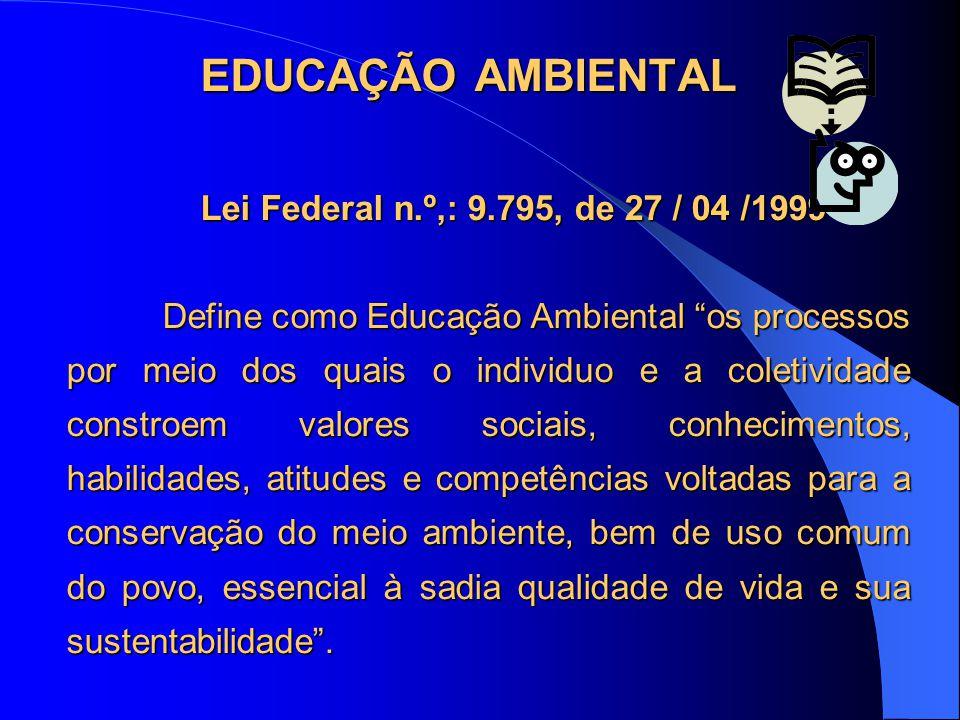 """EDUCAÇÃO AMBIENTAL Lei Federal n.º,: 9.795, de 27 / 04 /1999 Define como Educação Ambiental """"os processos por meio dos quais o individuo e a coletivid"""