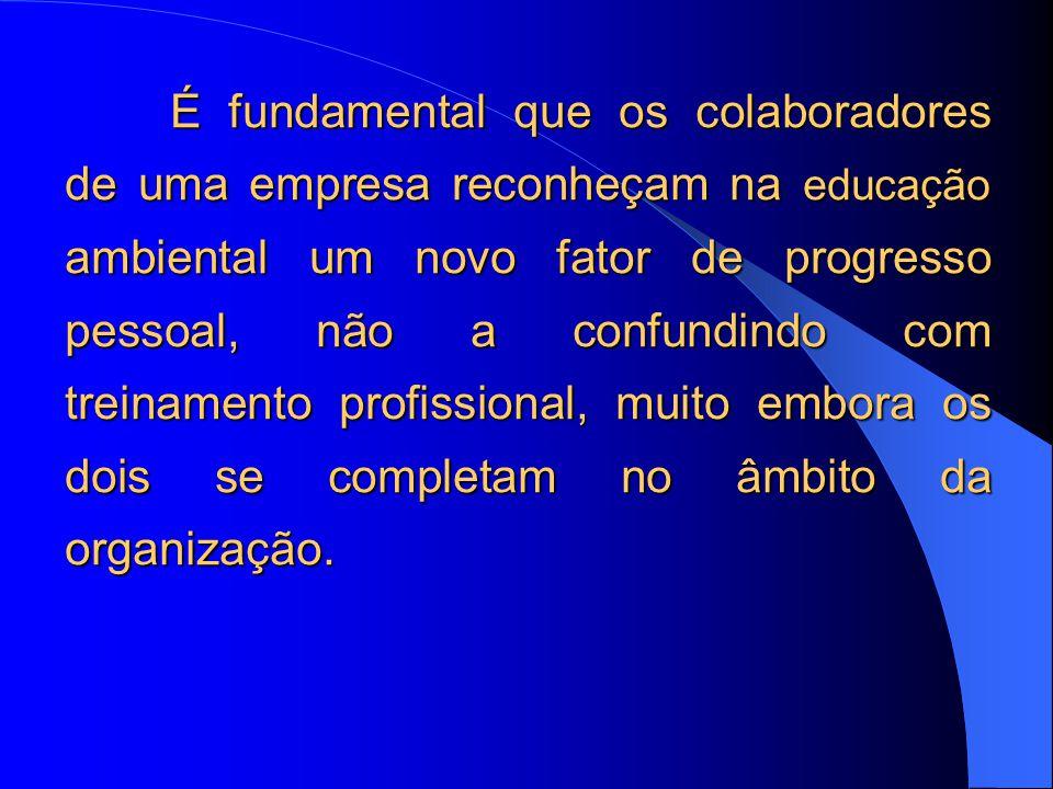 É fundamental que os colaboradores de uma empresa reconheçam na educação ambiental um novo fator de progresso pessoal, não a confundindo com treinamento profissional, muito embora os dois se completam no âmbito da organização.