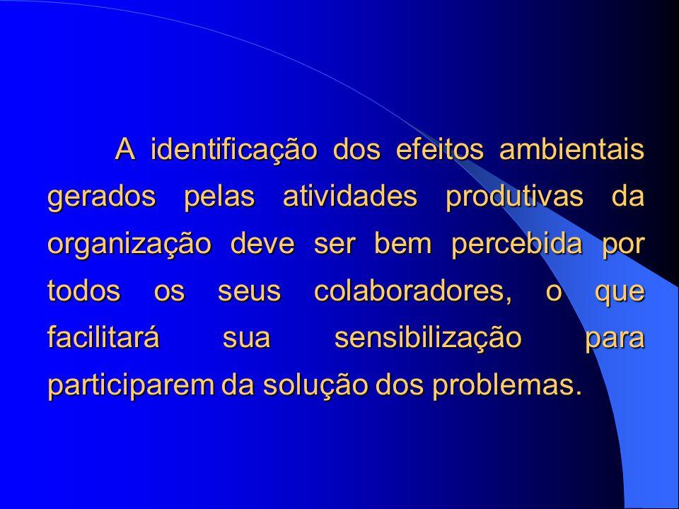 A identificação dos efeitos ambientais gerados pelas atividades produtivas da organização deve ser bem percebida por todos os seus colaboradores, o que facilitará sua sensibilização para participarem da solução dos problemas.