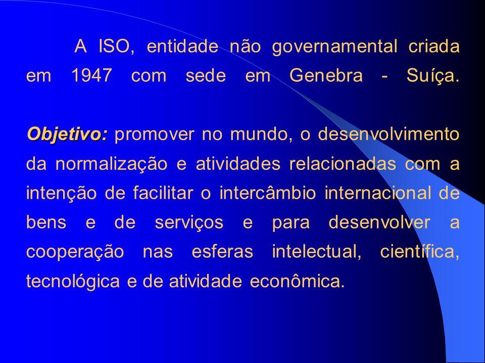 Objetivo: A ISO, entidade não governamental criada em 1947 com sede em Genebra - Suíça. Objetivo: promover no mundo, o desenvolvimento da normalização