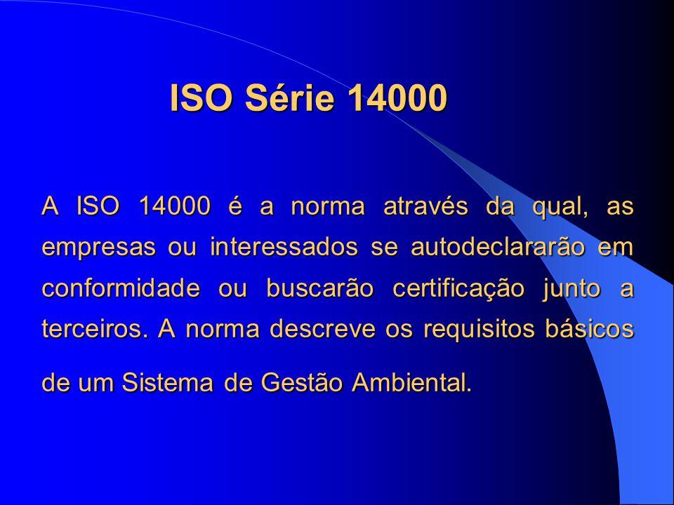 ISO Série 14000 A ISO 14000 é a norma através da qual, as empresas ou interessados se autodeclararão em conformidade ou buscarão certificação junto a